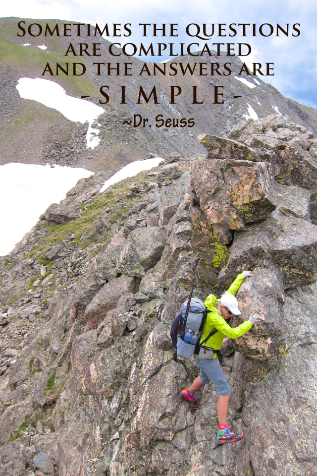 Sometimes the questions are complicated and the answers are simple.  ~Dr. Seuss  2