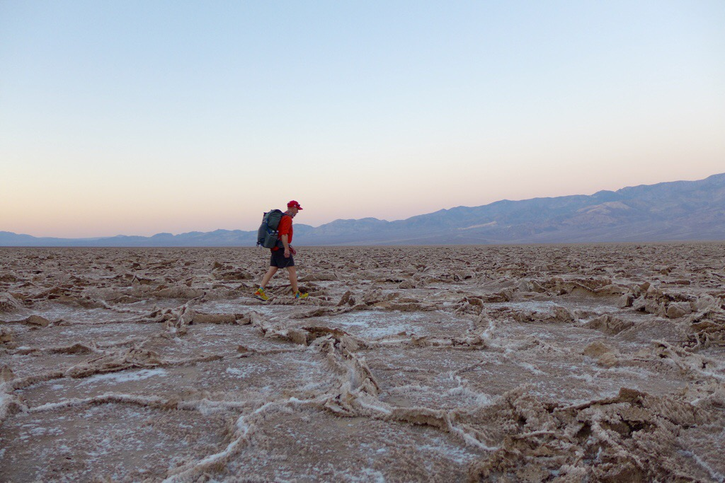 Crossing the crusty, sharp,and dry lake bed
