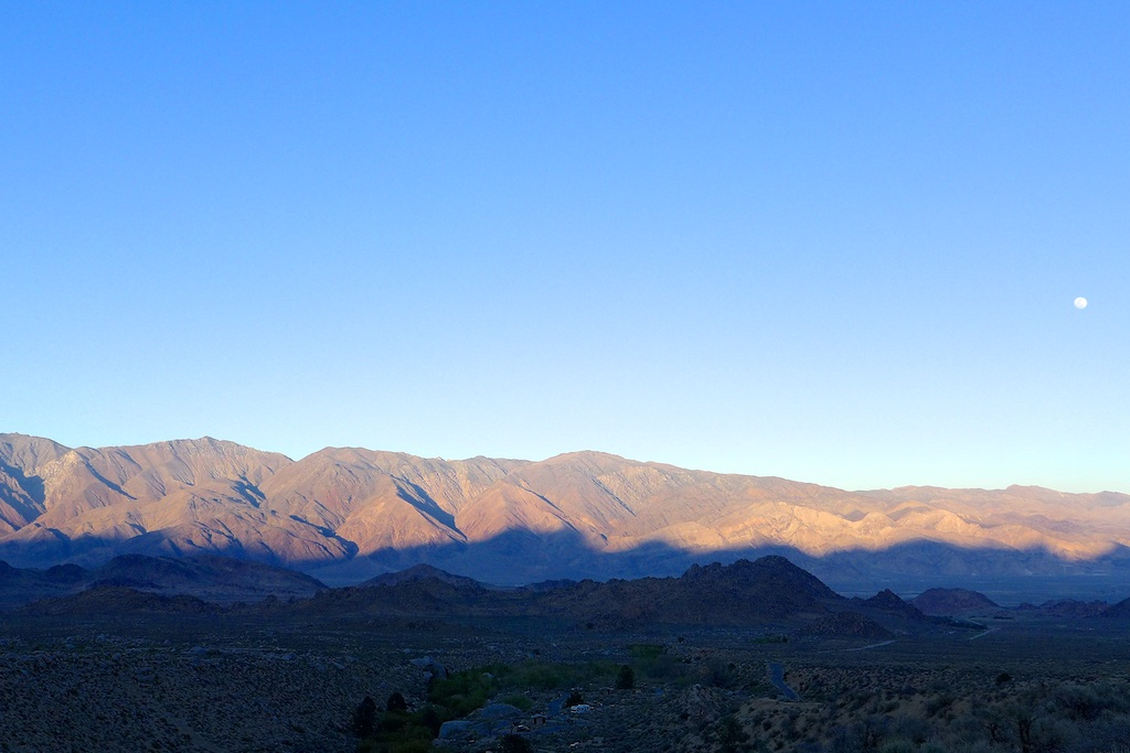 Looking back at the Inyo Mountains and close to a full moon